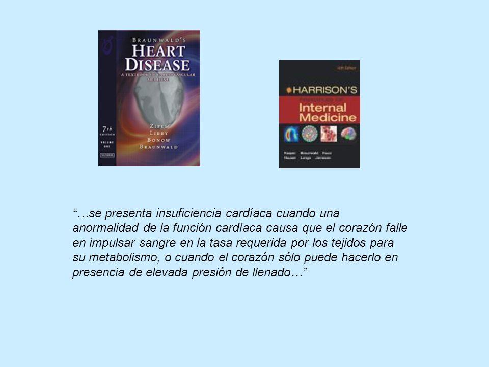 …se presenta insuficiencia cardíaca cuando una anormalidad de la función cardíaca causa que el corazón falle en impulsar sangre en la tasa requerida p
