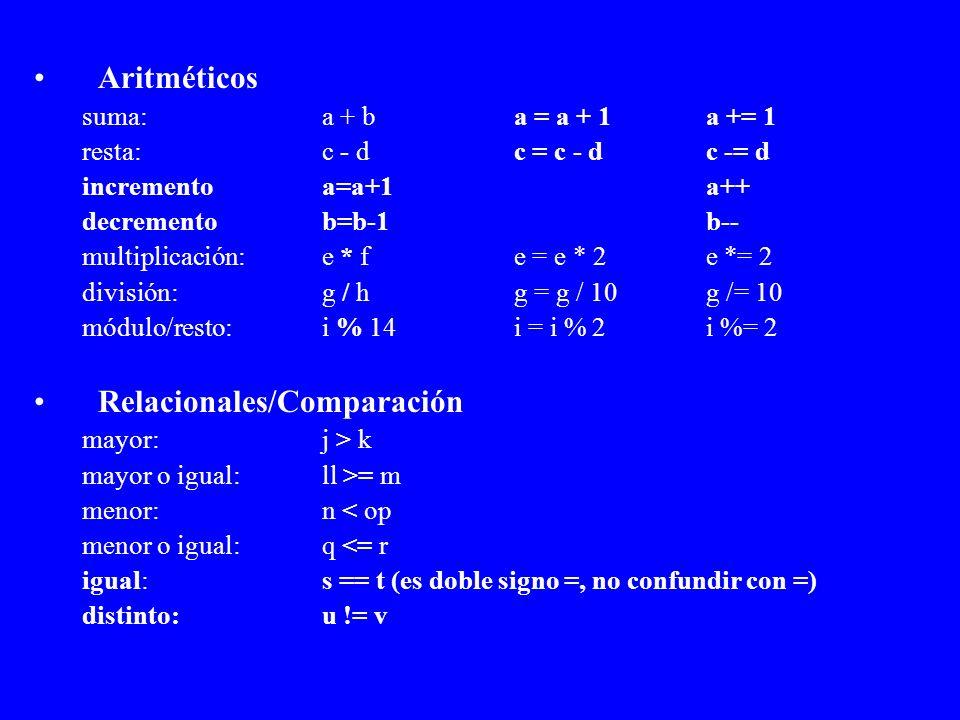 Aritméticos suma: a + ba = a + 1a += 1 resta: c - d c = c - dc -= d incrementoa=a+1a++ decrementob=b-1b-- multiplicación:e * fe = e * 2e *= 2 división
