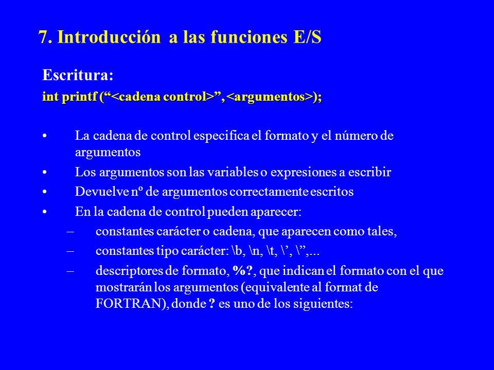 7. Introducción a las funciones E/S Escritura: int printf (, ); La cadena de control especifica el formato y el número de argumentos Los argumentos so