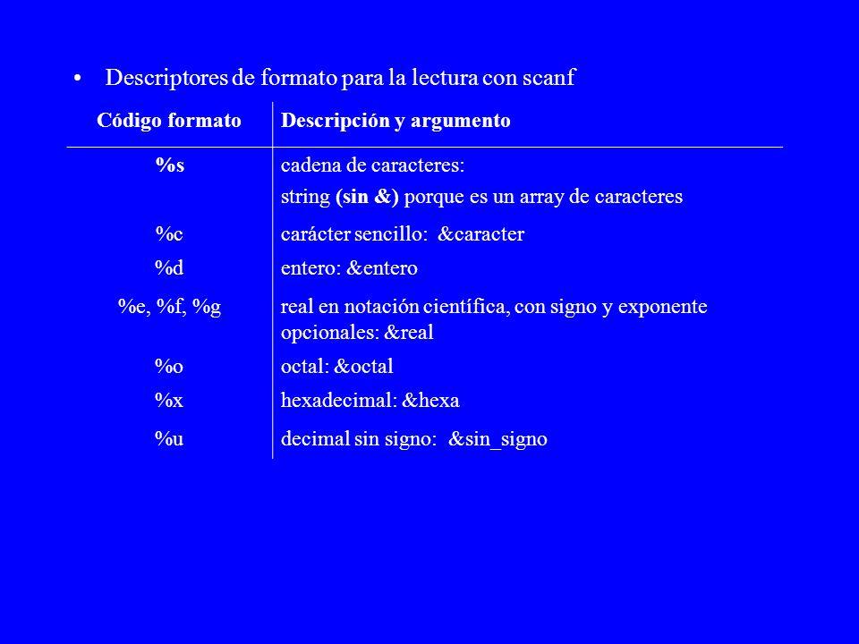 Descriptores de formato para la lectura con scanf Código formatoDescripción y argumento %scadena de caracteres: string (sin &) porque es un array de c