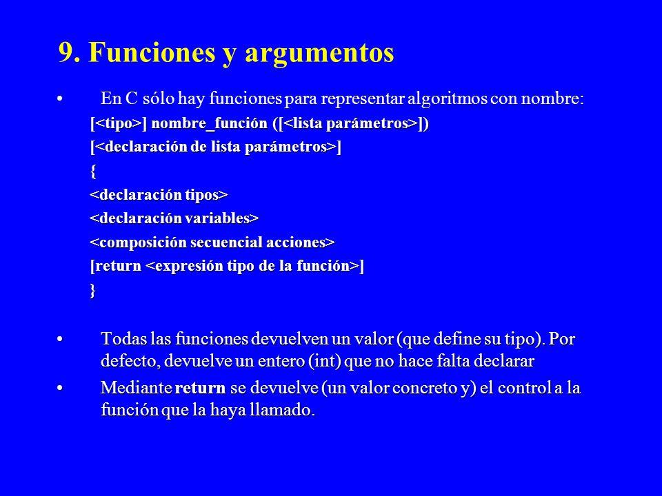 9. Funciones y argumentos En C sólo hay funciones para representar algoritmos con nombre: [ ] nombre_función ([ ]) [ ] { [return ] } Todas las funcion