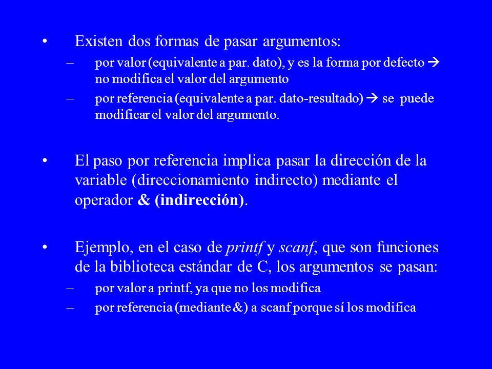 Existen dos formas de pasar argumentos: –por valor (equivalente a par. dato), y es la forma por defecto no modifica el valor del argumento –por refere