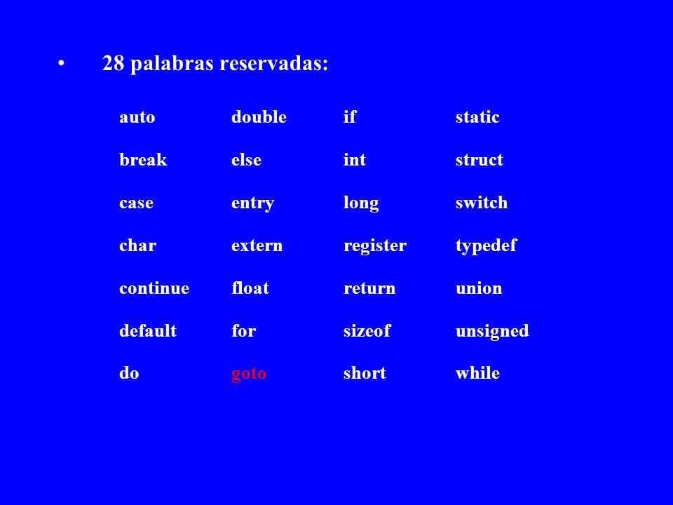 28 palabras reservadas: autodoubleifstatic breakelseintstruct caseentrylongswitch charexternregistertypedef continuefloatreturnunion defaultforsizeofu