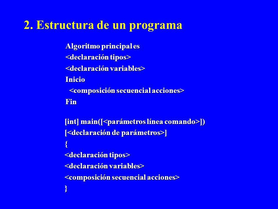 2. Estructura de un programa Algoritmo principal es Inicio Fin [int] main([ ]) [ ] { }