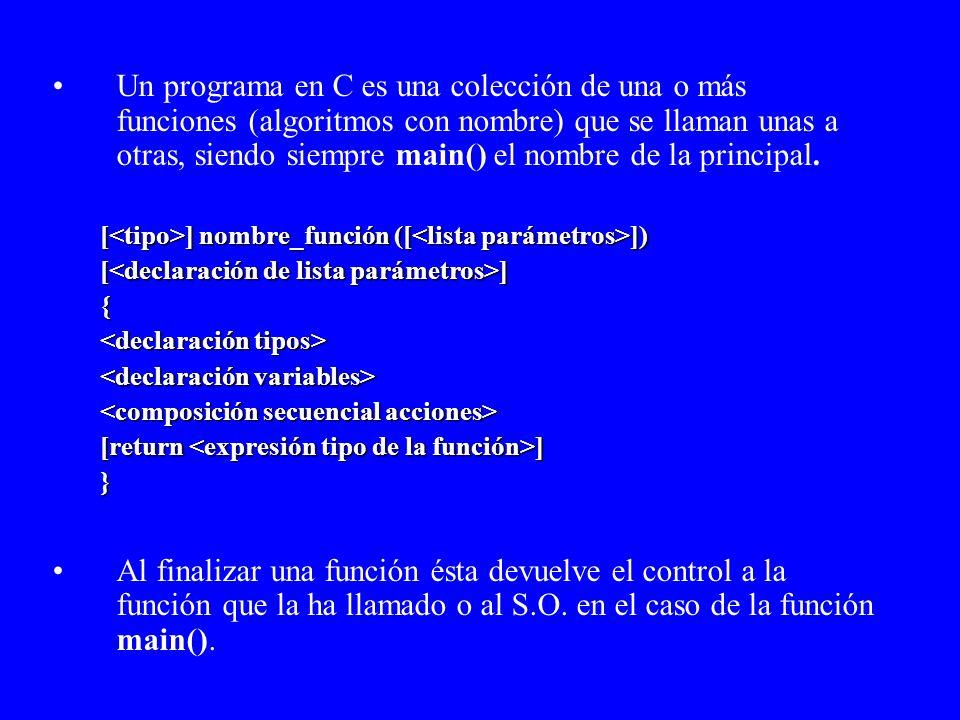 Formato libre de líneas (no hay límite de tamaño) Las sentencias deben separarse mediante punto y coma ; Las llaves {} agrupan conjuntos de sentencias lógicamente relacionadas (como inicio-fin, hacer-fin para,...) Los comentarios se ponen /* así */ Todas las funciones llevan un tipo (int, por defecto) La instrucción return nos permite devolver explícitamente un valor.