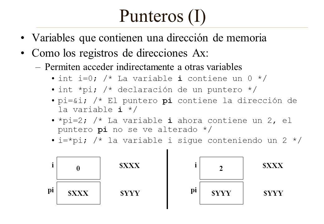 Punteros (I) Variables que contienen una dirección de memoria Como los registros de direcciones Ax: –Permiten acceder indirectamente a otras variables
