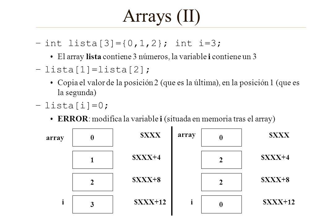 Arrays (II) –int lista[3]={0,1,2}; int i=3; El array lista contiene 3 números, la variable i contiene un 3 –lista[1]=lista[2]; Copia el valor de la po