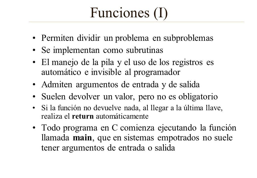 Funciones (I) Permiten dividir un problema en subproblemas Se implementan como subrutinas El manejo de la pila y el uso de los registros es automático