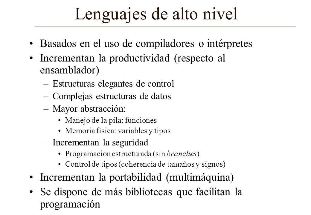 Lenguajes de alto nivel Basados en el uso de compiladores o intérpretes Incrementan la productividad (respecto al ensamblador) –Estructuras elegantes