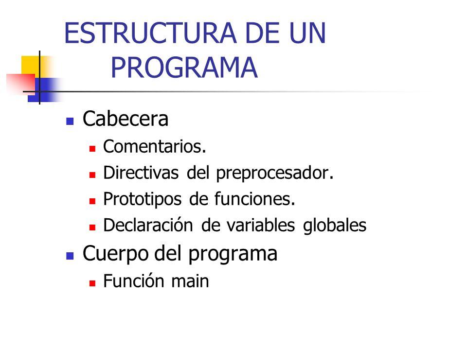CABECERA DE UN PROGRAMA Comentarios Se utilizan para aclarar el objeto del programa, su título, y los aspectos que sean de ayuda para su entendimiento.