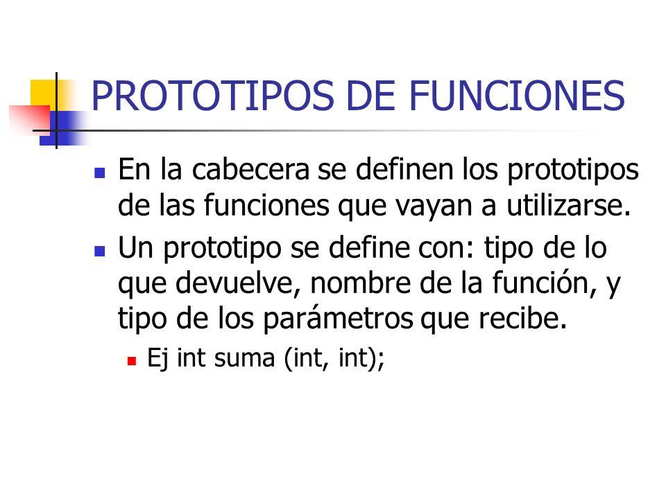 PROTOTIPOS DE FUNCIONES En la cabecera se definen los prototipos de las funciones que vayan a utilizarse. Un prototipo se define con: tipo de lo que d