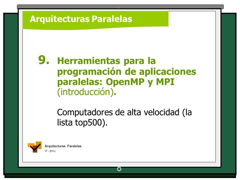 Arquitecturas Paralelas IF - EHU Arquitecturas Paralelas 9. Herramientas para la programación de aplicaciones paralelas: OpenMP y MPI (introducción).