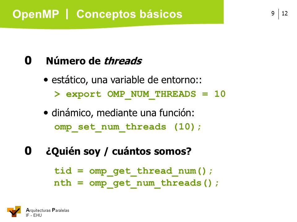 A rquitecturas P aralelas IF - EHU OpenMP 129 0 Número de threads estático, una variable de entorno:: > export OMP_NUM_THREADS = 10 dinámico, mediante