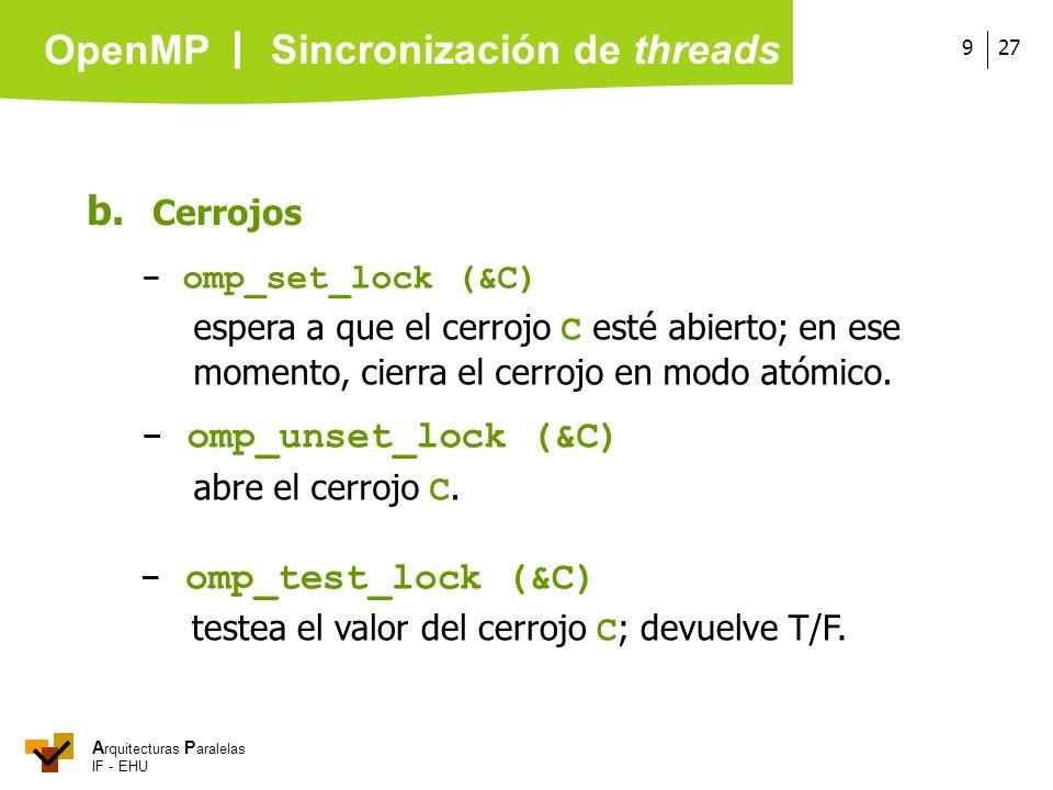 A rquitecturas P aralelas IF - EHU OpenMP 279 b. Cerrojos - omp_set_lock (&C) espera a que el cerrojo C esté abierto; en ese momento, cierra el cerroj