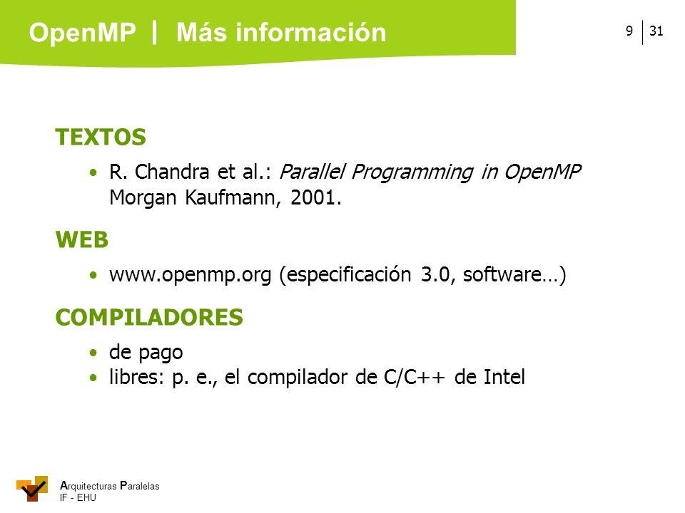 A rquitecturas P aralelas IF - EHU OpenMP 319 TEXTOS R. Chandra et al.: Parallel Programming in OpenMP Morgan Kaufmann, 2001. WEB www.openmp.org (espe