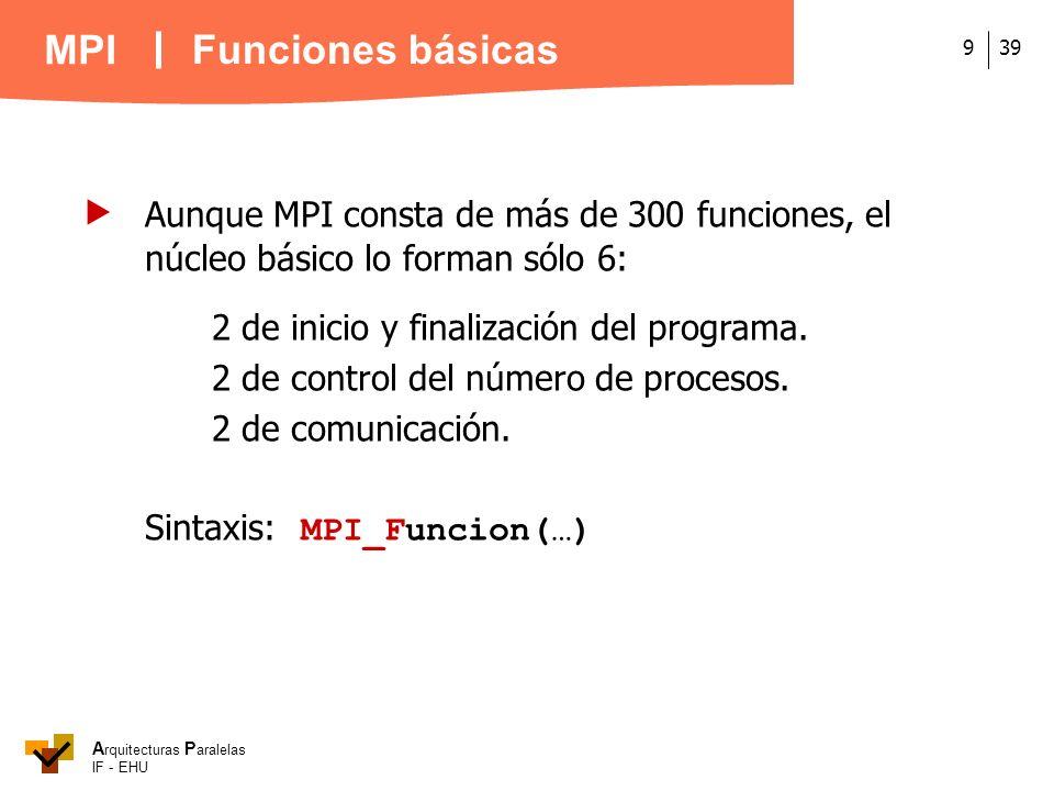 A rquitecturas P aralelas IF - EHU MPI 399 Aunque MPI consta de más de 300 funciones, el núcleo básico lo forman sólo 6: 2 de inicio y finalización de