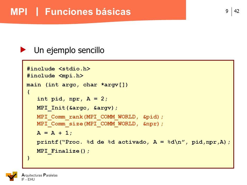 A rquitecturas P aralelas IF - EHU MPI 429 Un ejemplo sencillo #include main (int argc, char *argv[]) { int pid, npr, A = 2; MPI_Init(&argc, &argv); M