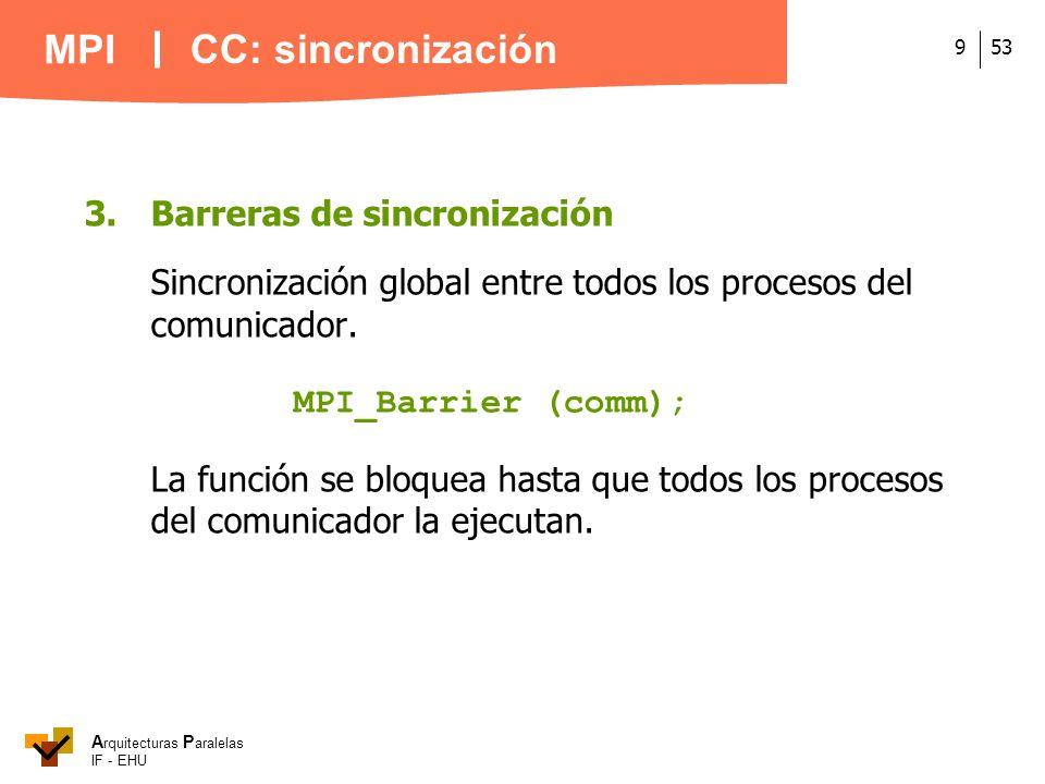 A rquitecturas P aralelas IF - EHU MPI 539 3.Barreras de sincronización Sincronización global entre todos los procesos del comunicador. MPI_Barrier (c