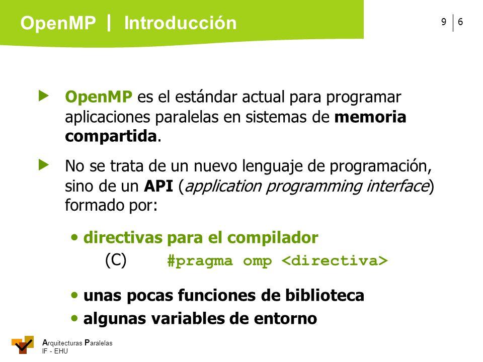 A rquitecturas P aralelas IF - EHU OpenMP 69 OpenMP es el estándar actual para programar aplicaciones paralelas en sistemas de memoria compartida. Int
