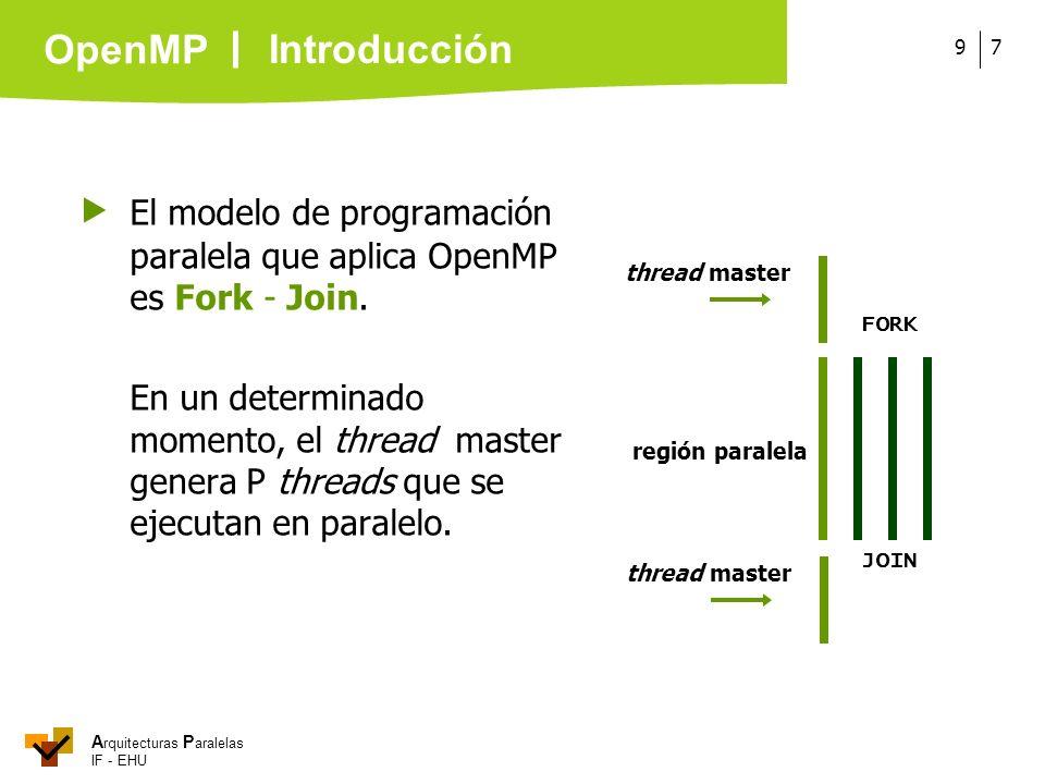 A rquitecturas P aralelas IF - EHU OpenMP 79 El modelo de programación paralela que aplica OpenMP es Fork - Join. En un determinado momento, el thread