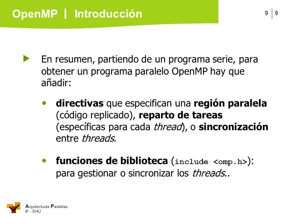 A rquitecturas P aralelas IF - EHU OpenMP 99 En resumen, partiendo de un programa serie, para obtener un programa paralelo OpenMP hay que añadir: dire