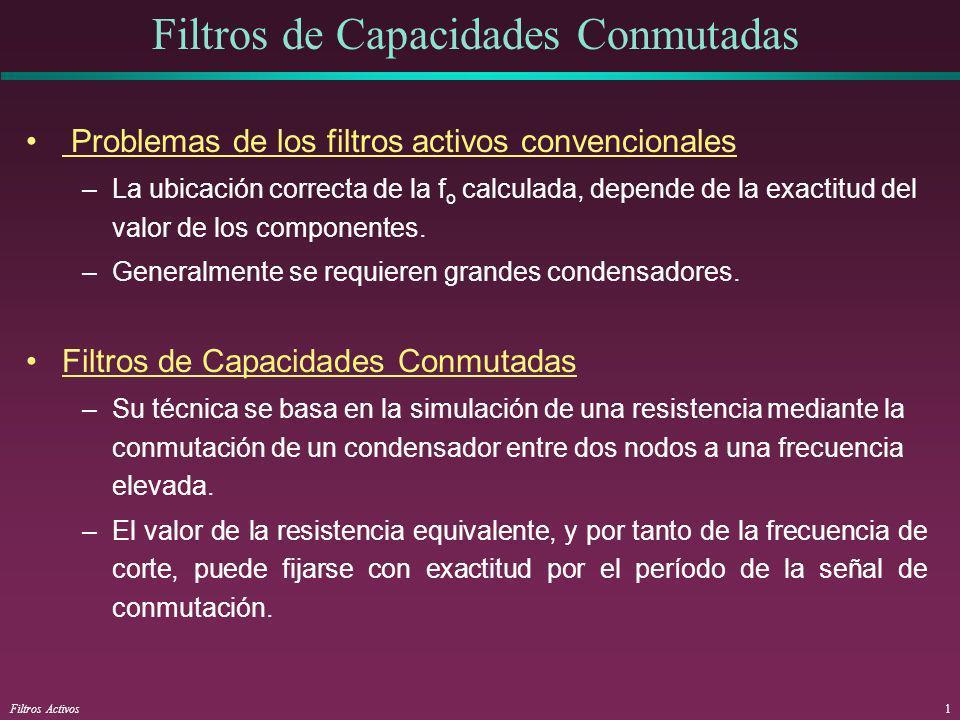 Filtros Activos1 Filtros de Capacidades Conmutadas Problemas de los filtros activos convencionales –La ubicación correcta de la f o calculada, depende