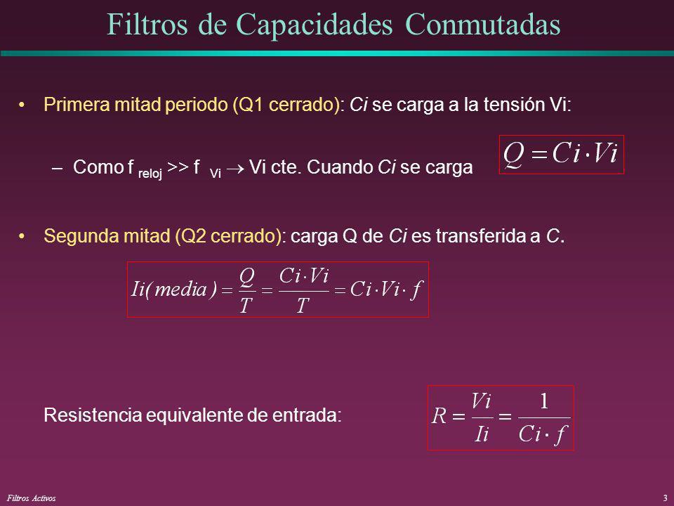 Filtros Activos4 El circuito anterior actúa como un integrador C Vi R Vo Conclusión: Tenemos un integrador con = RC ( =1/w o ) determinada por una frecuencia de reloj y la relación entre condensadores: C/Ci - La frecuencia f de reloj puede fijarse de forma precisa.