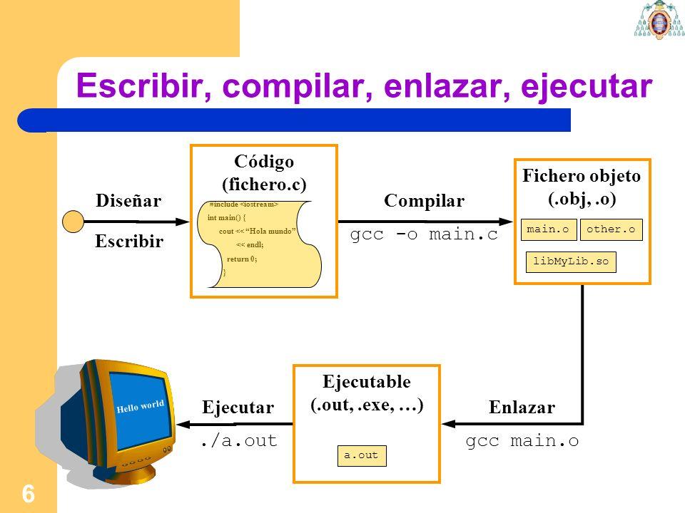 6 Compilar gcc -o main.c Escribir, compilar, enlazar, ejecutar Código (fichero.c) #include int main() { cout << Hola mundo << endl; return 0; } Diseña