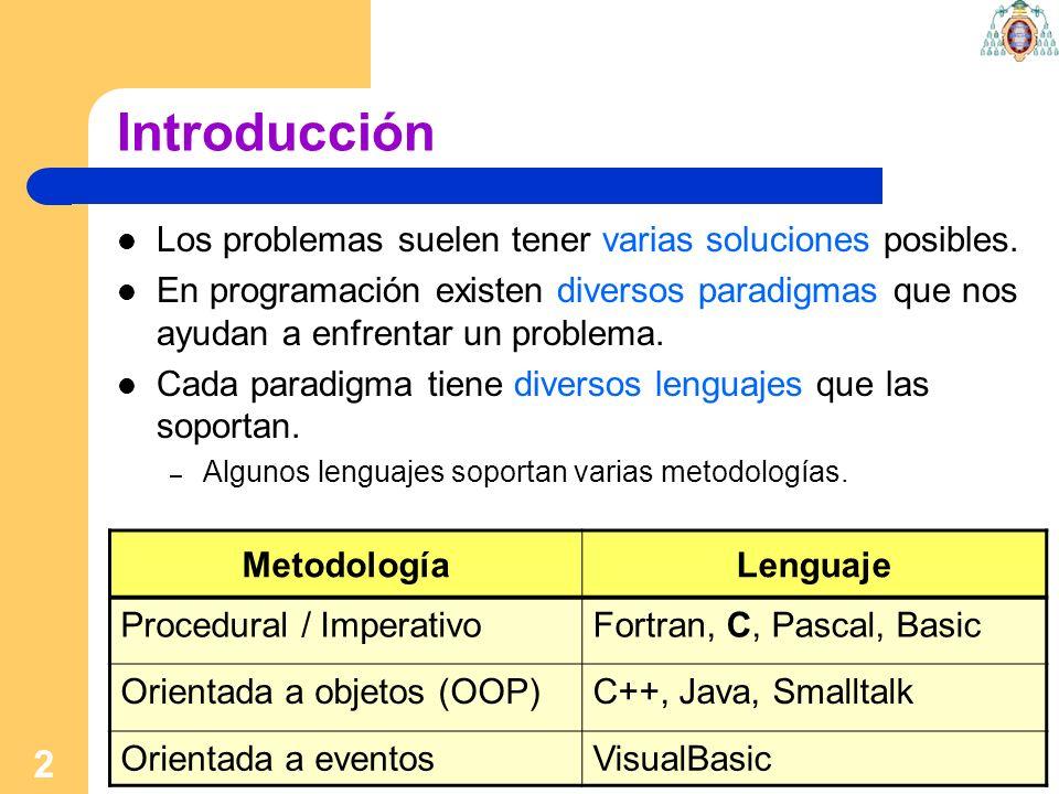 2 Introducción Los problemas suelen tener varias soluciones posibles. En programación existen diversos paradigmas que nos ayudan a enfrentar un proble