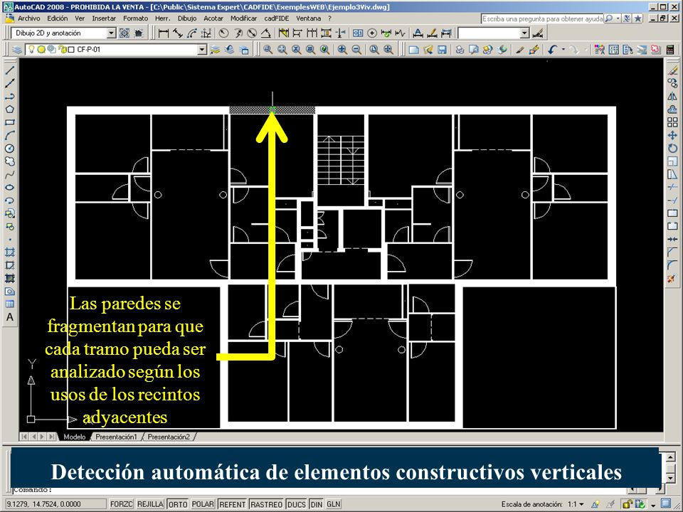 Las paredes se fragmentan para que cada tramo pueda ser analizado según los usos de los recintos adyacentes Detección automática de elementos construc