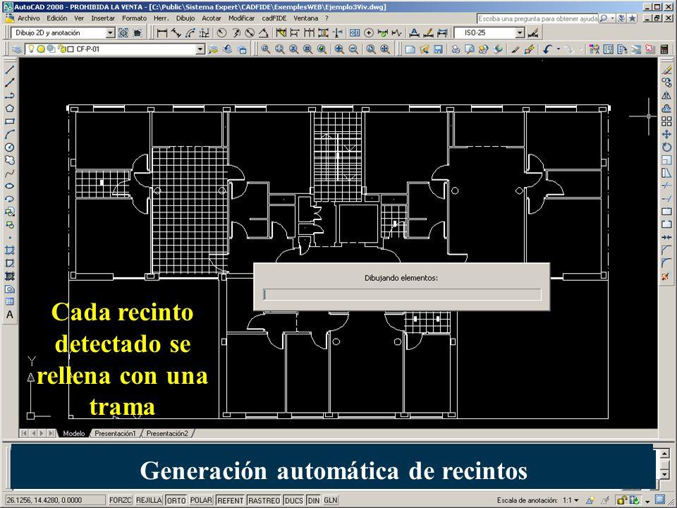 Cada recinto detectado se rellena con una trama Generación automática de recintos