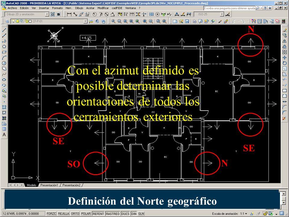 Con el azimut definido es posible determinar las orientaciones de todos los cerramientos exteriores SE SO SE N N Definición del Norte geográfico