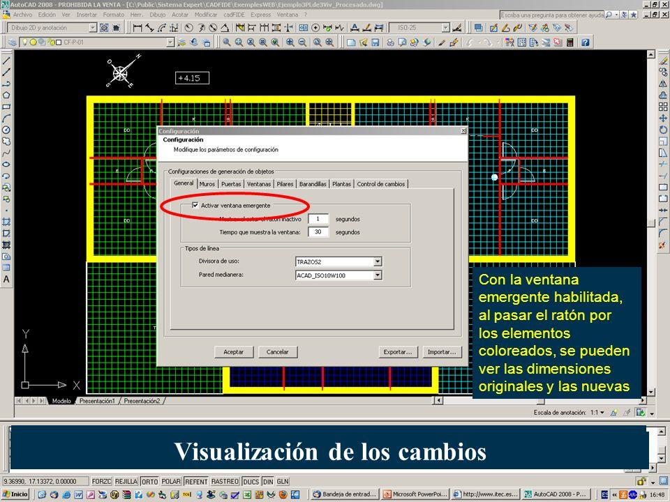 Con la ventana emergente habilitada, al pasar el ratón por los elementos coloreados, se pueden ver las dimensiones originales y las nuevas Visualizaci