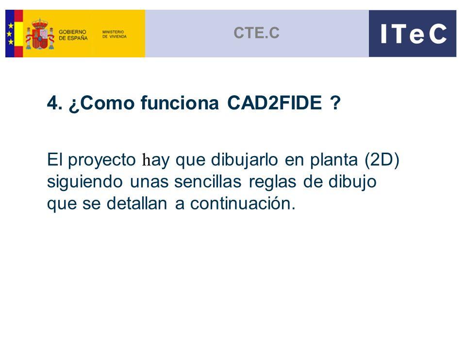 CTE.C 4. ¿Como funciona CAD2FIDE ? El proyecto h ay que dibujarlo en planta (2D) siguiendo unas sencillas reglas de dibujo que se detallan a continuac