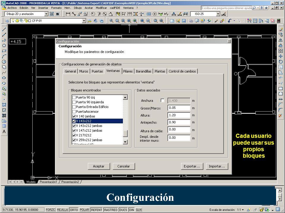 Cada usuario puede usar sus propios bloques Configuración