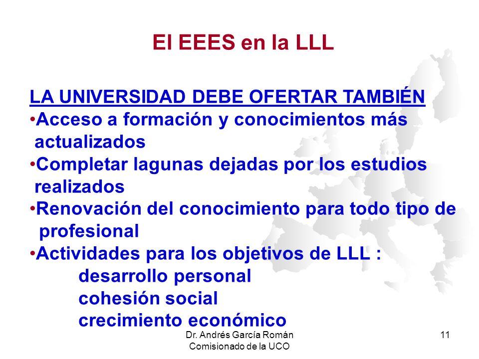 Dr. Andrés García Román Comisionado de la UCO 11 LA UNIVERSIDAD DEBE OFERTAR TAMBIÉN Acceso a formación y conocimientos más actualizados Completar lag