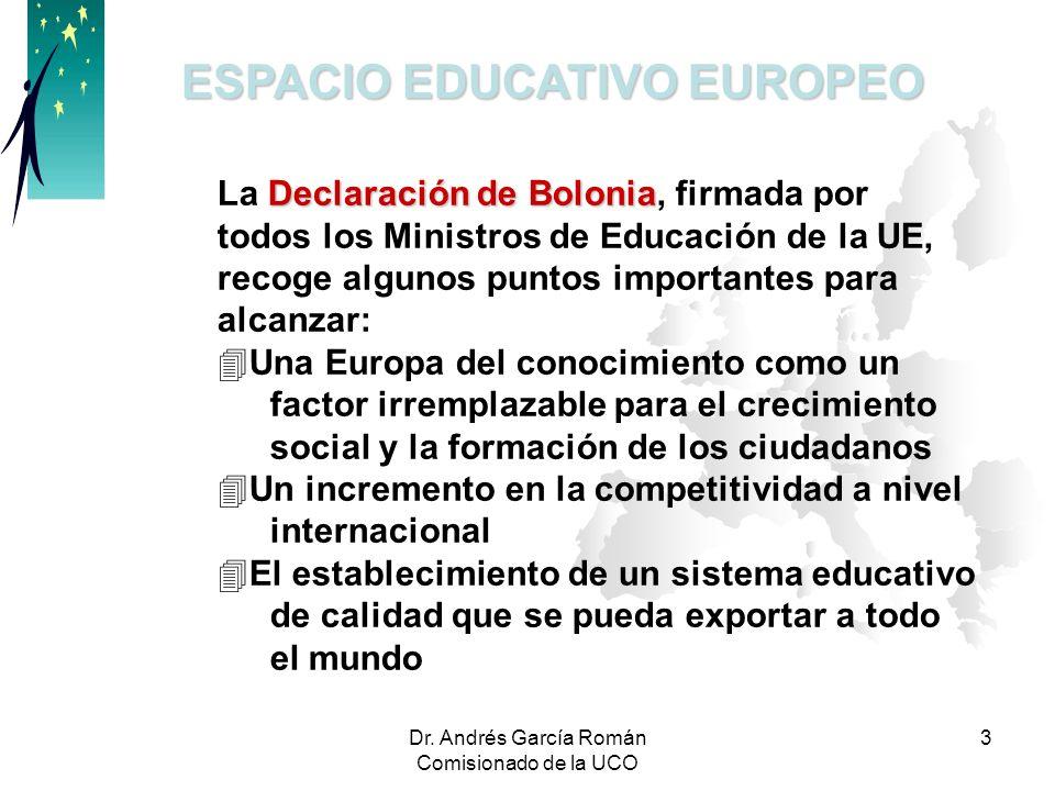 Dr. Andrés García Román Comisionado de la UCO 3 ESPACIO EDUCATIVO EUROPEO Declaración de Bolonia La Declaración de Bolonia, firmada por todos los Mini