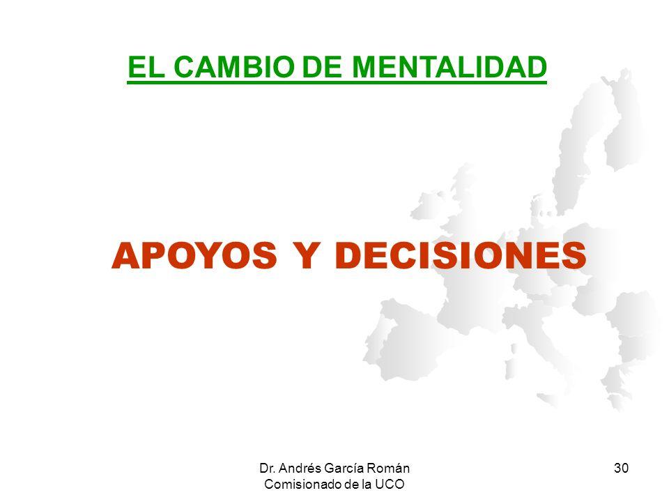 Dr. Andrés García Román Comisionado de la UCO 30 APOYOS Y DECISIONES EL CAMBIO DE MENTALIDAD
