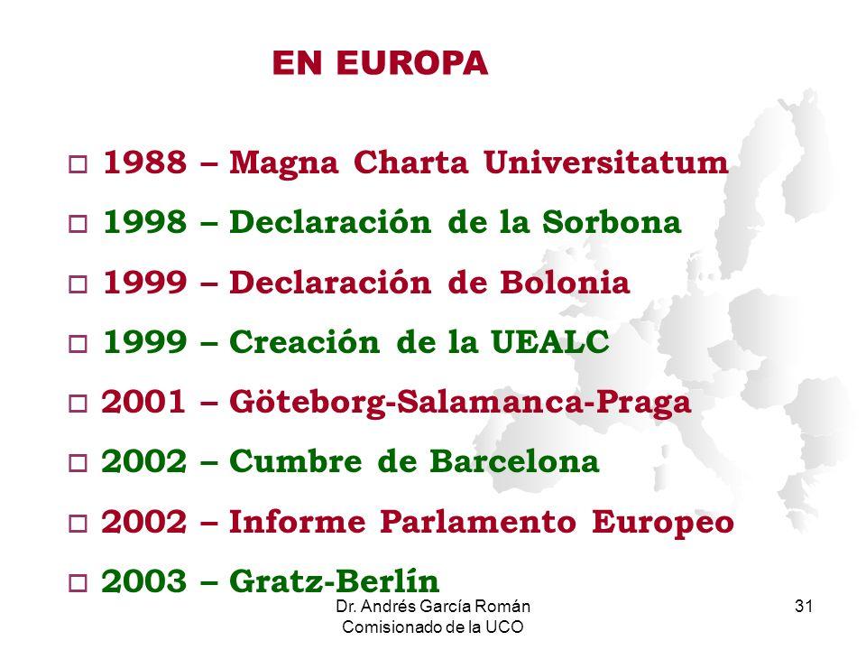 Dr. Andrés García Román Comisionado de la UCO 31 o 1988 – Magna Charta Universitatum o 1998 – Declaración de la Sorbona o 1999 – Declaración de Boloni