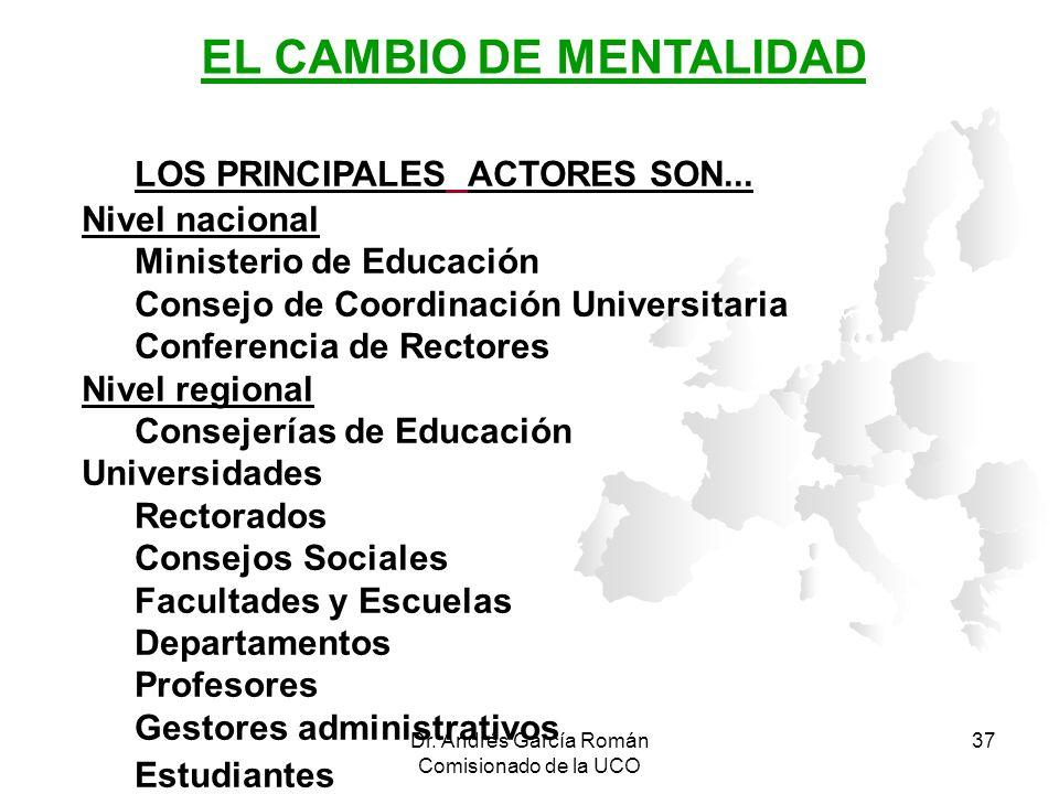Dr. Andrés García Román Comisionado de la UCO 37 LOS PRINCIPALES ACTORES SON... Nivel nacional Ministerio de Educación Consejo de Coordinación Univers