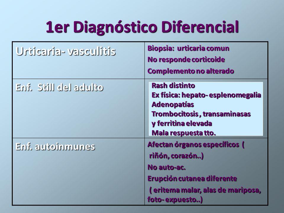 1er Diagnóstico Diferencial Urticaria- vasculitis Biopsia: urticaria comun No responde corticoide Complemento no alterado Enf. Still del adulto Enf. a