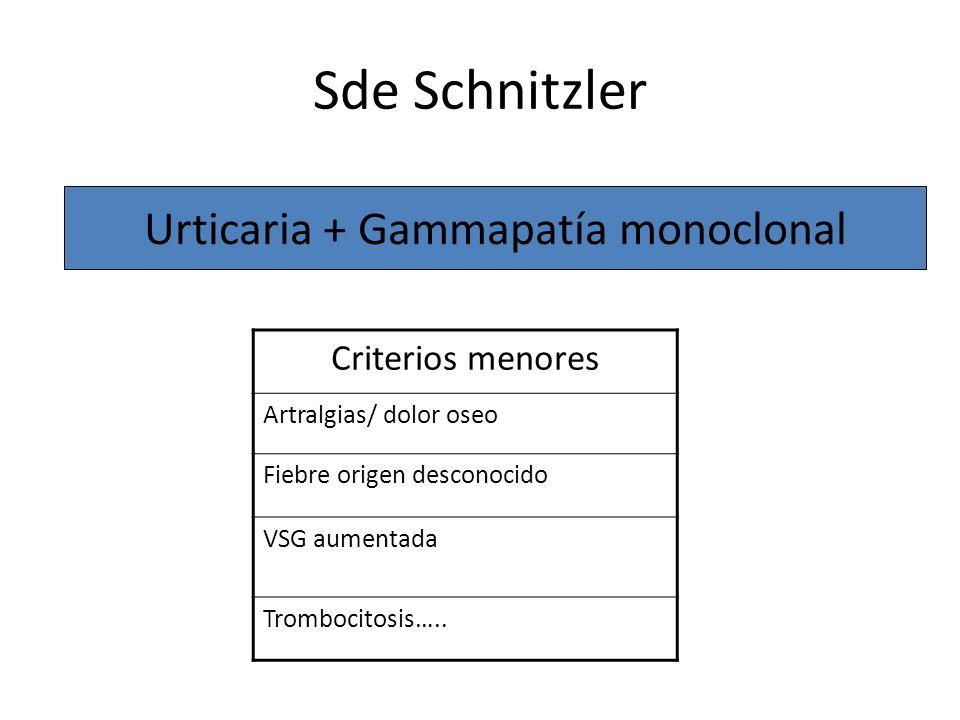 Sde Schnitzler Urticaria + Gammapatía monoclonal Criterios menores Artralgias/ dolor oseo Fiebre origen desconocido VSG aumentada Trombocitosis…..