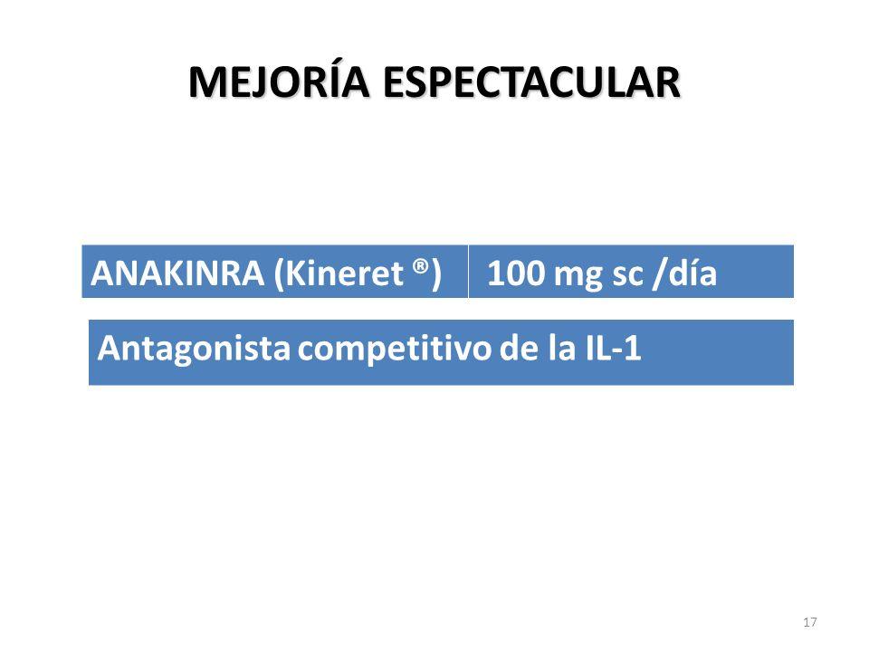 MEJORÍA ESPECTACULAR ANAKINRA (Kineret ®) 100 mg sc /día Antagonista competitivo de la IL-1 17
