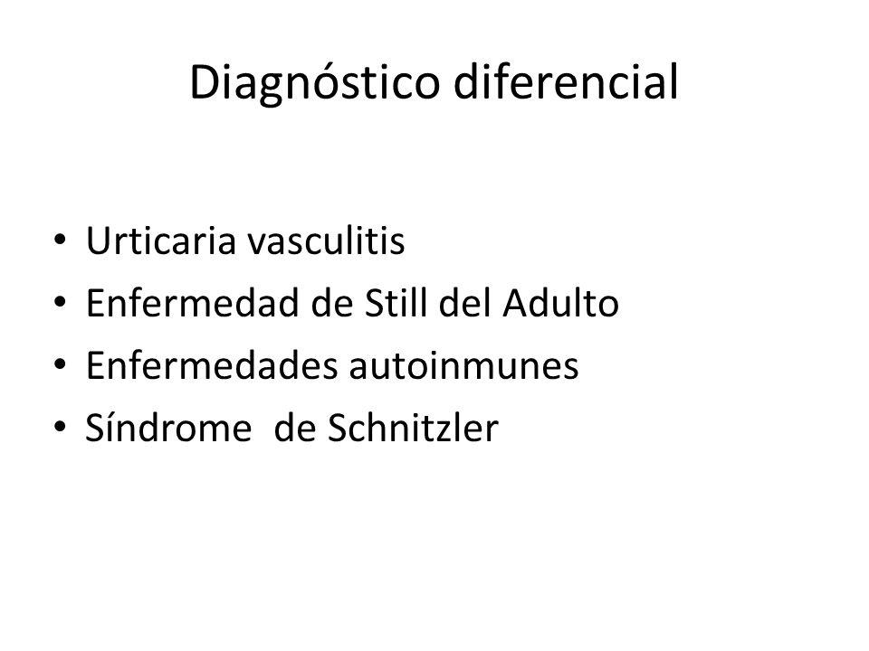 1er Diagnóstico Diferencial Urticaria- vasculitis Biopsia: urticaria comun No responde corticoide Complemento no alterado Enf.