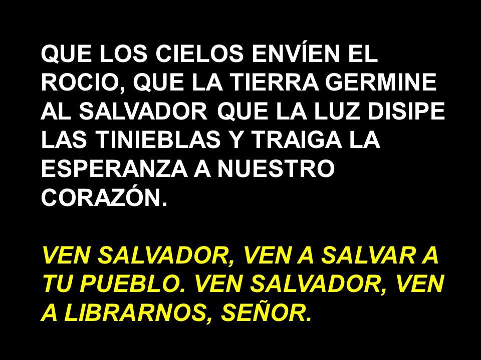 QUE LOS CIELOS ENVÍEN EL ROCIO, QUE LA TIERRA GERMINE AL SALVADOR QUE LA LUZ DISIPE LAS TINIEBLAS Y TRAIGA LA ESPERANZA A NUESTRO CORAZÓN.