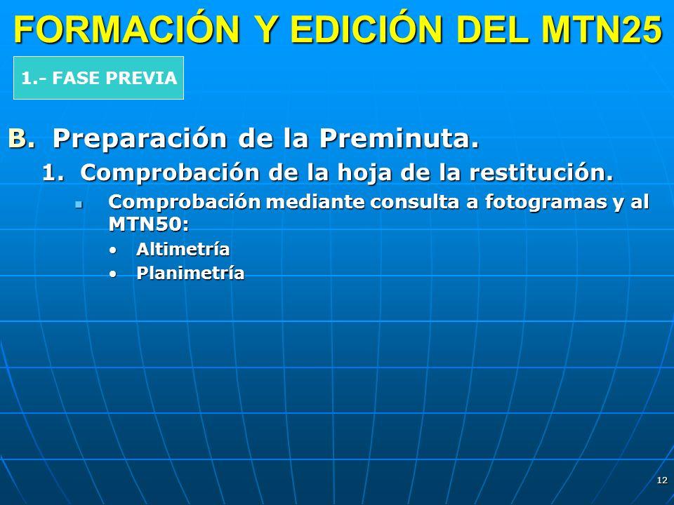 12 FORMACIÓN Y EDICIÓN DEL MTN25 B.Preparación de la Preminuta. 1.Comprobación de la hoja de la restitución. Comprobación mediante consulta a fotogram