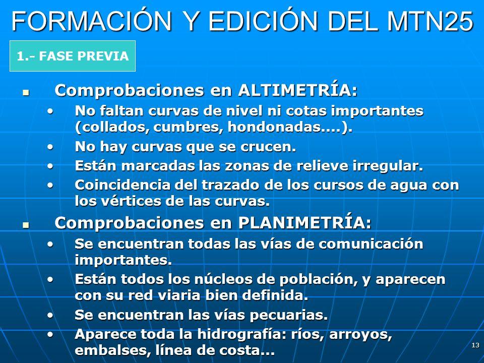13 FORMACIÓN Y EDICIÓN DEL MTN25 Comprobaciones en ALTIMETRÍA: Comprobaciones en ALTIMETRÍA: No faltan curvas de nivel ni cotas importantes (collados,
