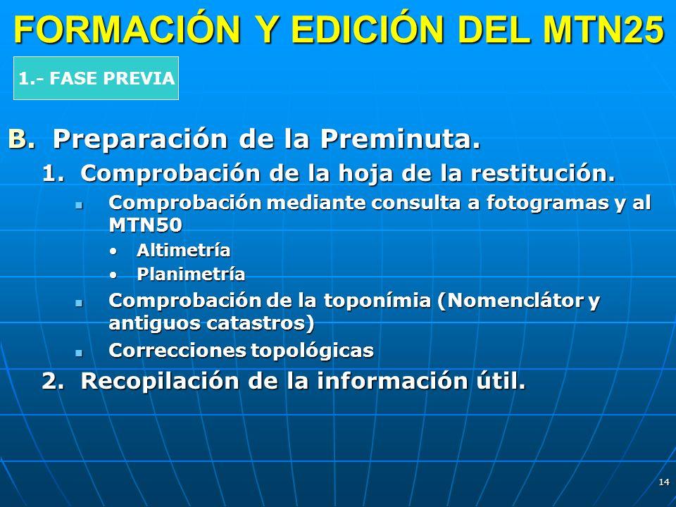 14 FORMACIÓN Y EDICIÓN DEL MTN25 B.Preparación de la Preminuta. 1.Comprobación de la hoja de la restitución. Comprobación mediante consulta a fotogram