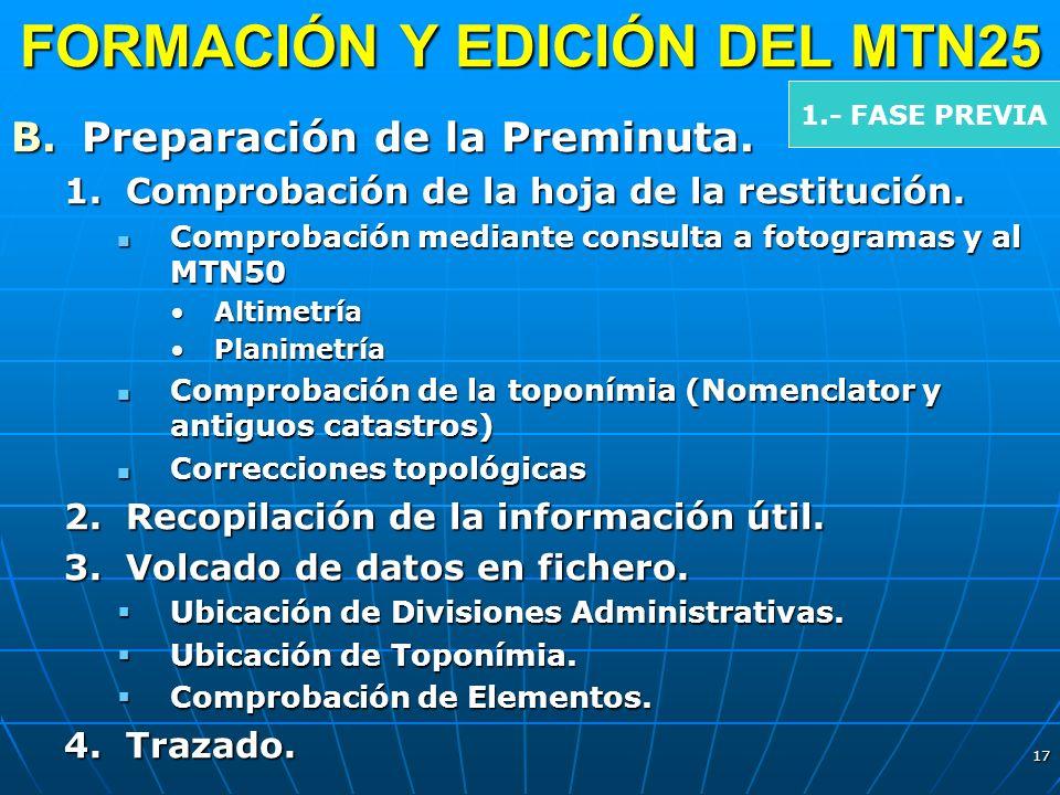 17 FORMACIÓN Y EDICIÓN DEL MTN25 B.Preparación de la Preminuta. 1.Comprobación de la hoja de la restitución. Comprobación mediante consulta a fotogram