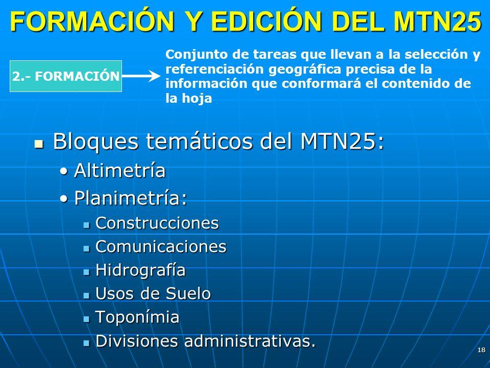 18 FORMACIÓN Y EDICIÓN DEL MTN25 2.- FORMACIÓN Conjunto de tareas que llevan a la selección y referenciación geográfica precisa de la información que